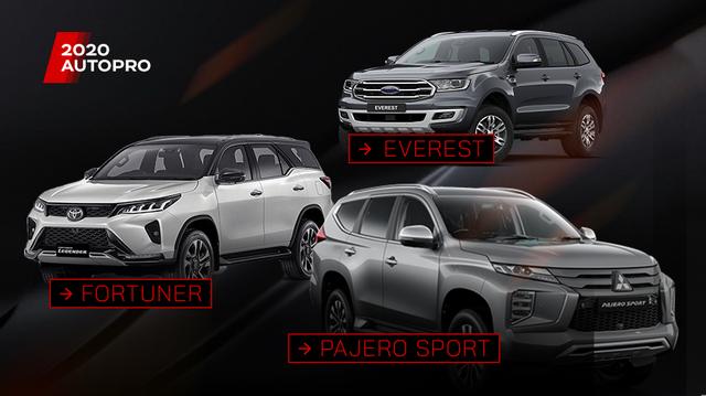 So sánh Mitsubishi Pajero Sport với Toyota Fortuner và Ford Everest
